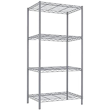Home Basics Wire Shelving Storage Unit (4 Tier, Grey)