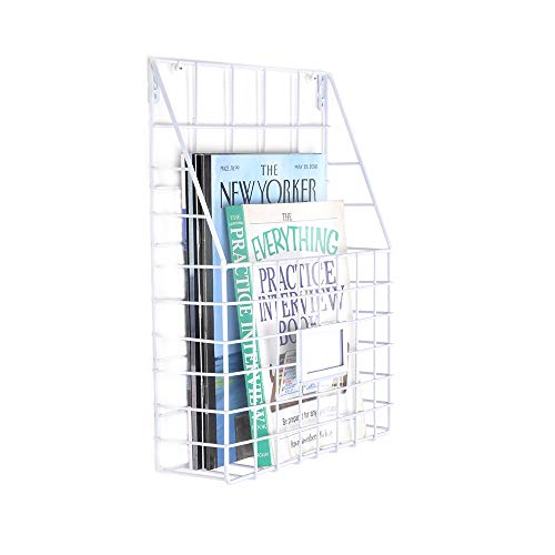 Living Room Metal Magazine Rack - ZONYEO White Metal Wire Magazine Rack Holder Newspapers Organizer Wall Mounted Iron Basket for Dorm Bedroom Living Room Office