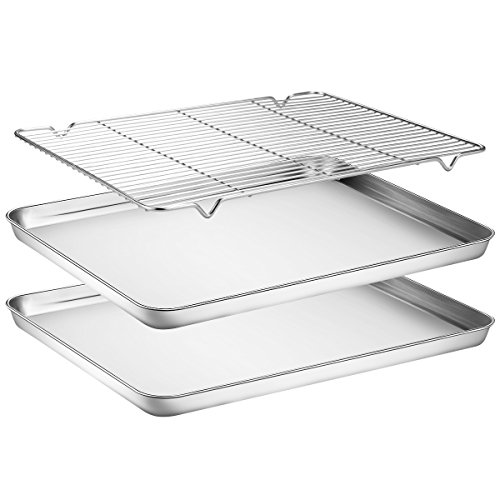 Baking Sheets 2 Pieces with A Rack , HKJ Chef Cookie Sheets and Nonstick Cooling Rack & Stainless Steel Baking Pans & Toaster Oven Tray Pan, Rectangle Size 16 x 12 x 1 inch & Non Toxic