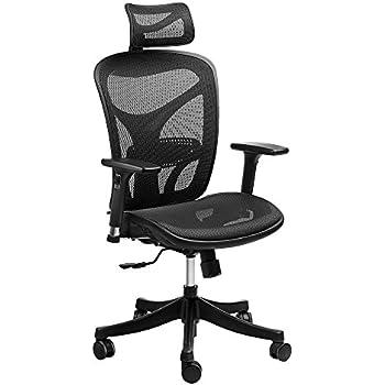 Ergonomic High Back Mesh Office Chair   SIEGES Adjustable Headrest, 3D Flip  Up Arms
