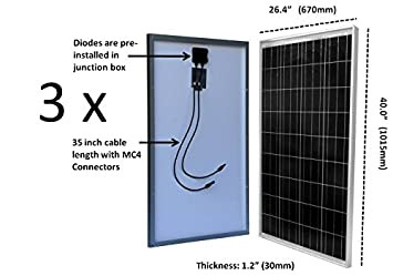 WindyNation 300 Watt 12V Solar Panel Kit w Adjustable Solar Mount Rack and LCD Charge Controller RV, Cabin, Off-Grid Battery