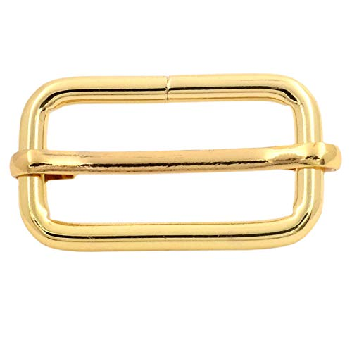 BIKICOCO Metal Slide Adjuster Buckle Tri-Glides with Movable Center Bar, for Straps, 1.25 x 0.6 Inch, Gold, Pack of 10