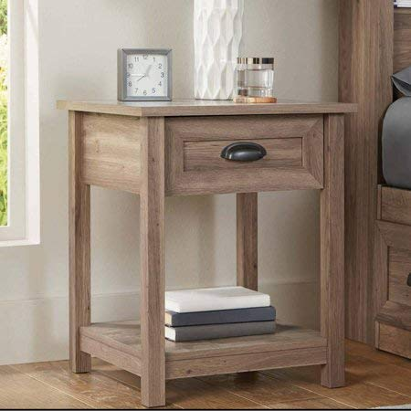 Better Homes and Gardens Lafayette Night Stand | Open Shelf Provides Additional Storage (Set of 1, Washed Oak)