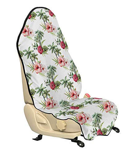 Ambesonne Hawaii Car Seat Cover, Aquarelle Effect Palm Trees Hibiscus Flowers Romantic Summer Bloom, Car and Truck Seat Cover Protector with Nonslip Backing Universal Fit, Pale Pink Ruby Reseda Green
