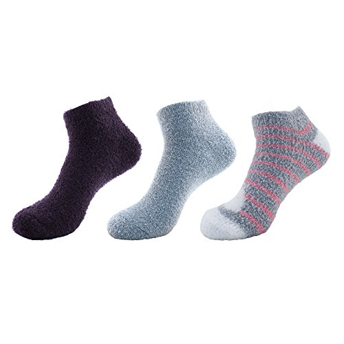 Women's Feather Yarn Super Soft Warm Fuzzy Comfy Home Anklet Ankle Socks - 3 Pairs, Assortment B ()