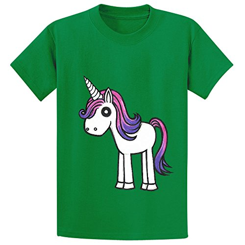 Price comparison product image Snowl Overly Cute Unicorn Youth Crew Neck Cotton T Shirts Green