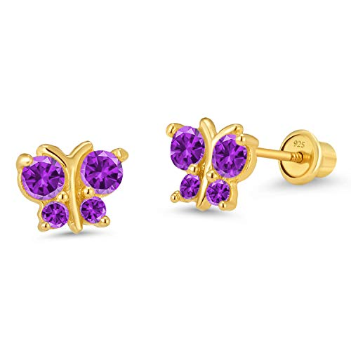 14k Gold Plated Brass Purple Butterfly Cubic Zirconia Screwback Girls Earrings with Silver Post