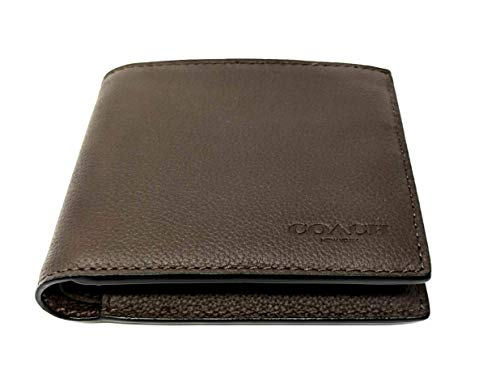 Coach F74991 Men's Compact ID Leather Wallet Black/Mahogany/Dark Saddle (Mahogany)
