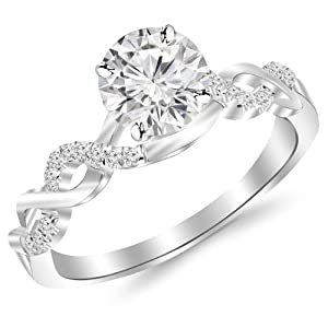 0.63 Carat Twisting Infinity Gold and Diamond Split Shank Pave Set Diamond Engagement Ring with a 0.5 Carat J-K I2…