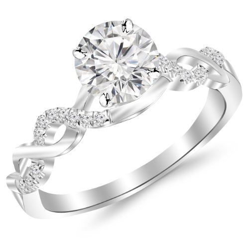 0.63 Carat Twisting Infinity Gold and Diamond Split Shank Pave Set Diamond Engagement Ring 14K White Gold with a 0.5 Carat J-K I2 Round Brilliant Cut/Shape Center