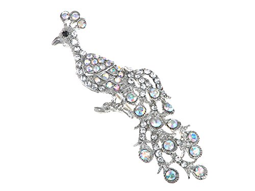 Alilang Aurora Borealis Clear Crystal Rhinestone Perched Peacock Tree Branch Bird Animal Brooch (Fabulous Feather Pin)