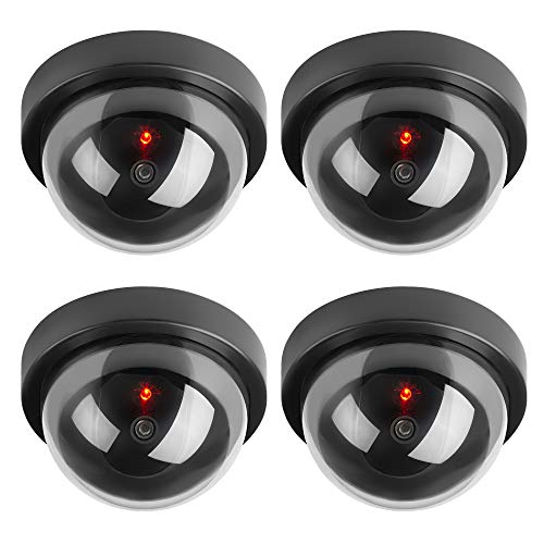TOROTON Dummy Fake Security CCTV Dome Camera Simulation Monitor with LED Flashing Light, Outdoor and Indoor Use for Homes & Business, 4 Pack ()