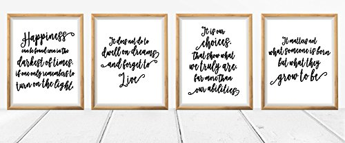 Harry Potter Dumbledore Quotes and Sayings Art Prints - Set of 4 Unique 8