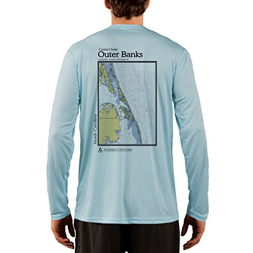Coastal Classics Outer Banks Chart Mens Upf 50  Long Sleeve T Shirt Large Arctic Blue