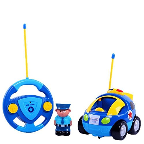 YKS Cartoon R/C Race Car Radio Control Toy for Toddlers and Kids, Light Blue