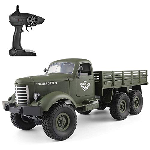 Flyglobal RC Military Truck 1/16 Scale All Terrain Remote Control Military Truck 2.4 Ghz 6WD RC Off Road Trucks Vehicle with Rechargeable Batteries,Remote Control Army Truck for Boys Kids Adults