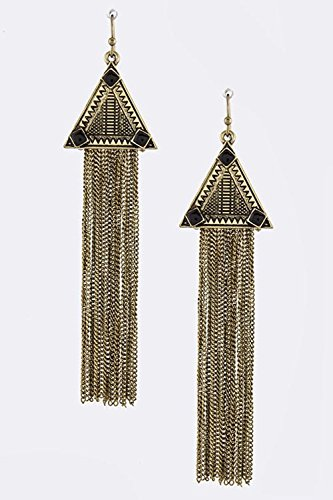 BAUBLES & CO TRIBAL PRINT TRIANGLE CHAIN FRINGED EARRINGS (Black) (Dangling Earrings Avon)