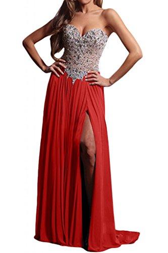 Acabado en forma de corazón de la Toscana de novia de Gasa de noche largo Ranura de cristal bola de fiesta a vestidos Rojo