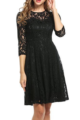 Meaneor Women's Round Neck Short Sleeve Pleated Lace Slim Dress Black XXL