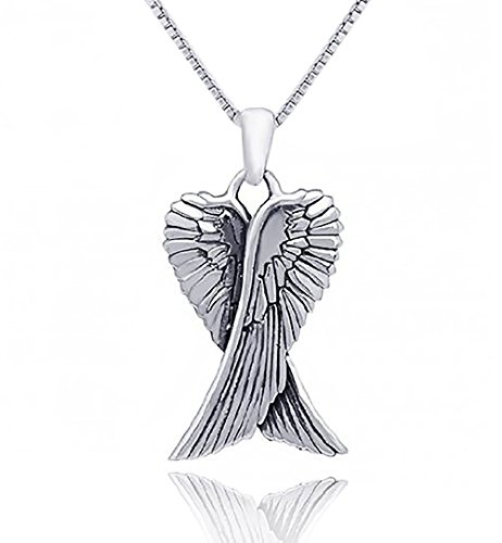 - inBLISS Sterling Silver Angel Wings Pendant Necklace with 18