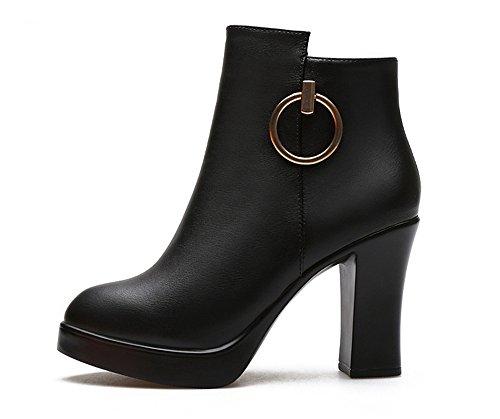 con spessore laterale stivali alto Tacco cerniera black xqTF80ZwB
