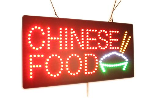 Chinese Food Sign, High Quality LED Open Sign, Store Sign, Business Sign, Windows Sign ()