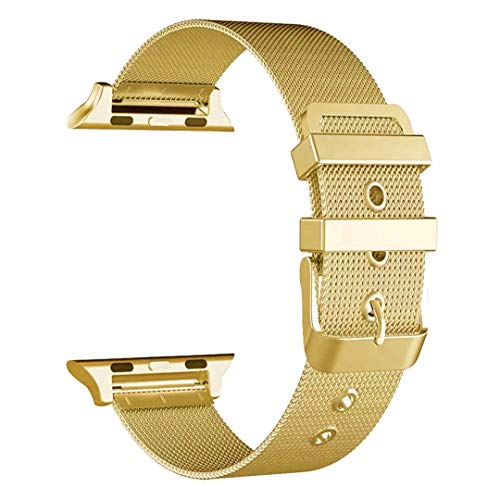 BONSTRAP Compatible with Apple Watch Band 42mm Gold Stainless Steel Milanese Loop Watch Strap 38mm Replacement Series 1 2 3 iWatch Bands