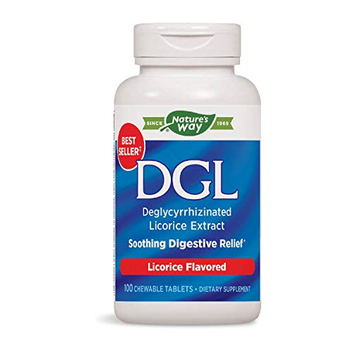 Nature's Way DGL 3:1 (Deglycyrrhizinated Licorice) Digestive Relief, Original, 100 Chewables