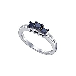 10kt White Gold Womens Round Black Colored Diamond 3-stone Bridal Wedding Engagement Ring 4/5 Cttw