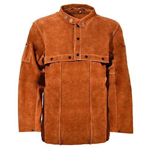 Leaseek Leather Welding Jacket - Heavy Duty Welding Apron with Sleeve (X-Large) by LeaSeeK (Image #2)