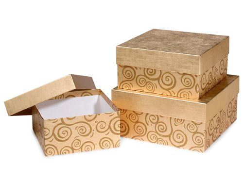 Christmas Nested Gift Boxes with Lids, Set/3 Gold (Nesting Swirls Set)