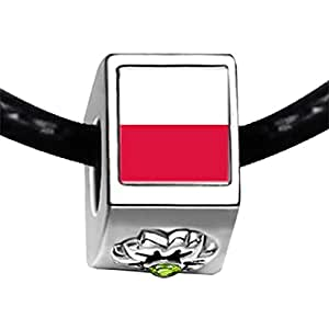 Chicforest Silver Plated Poland flag Photo Peridot Crystal August Birthstone Flower Charm Beads Fit Pandora Chamilia Biagi Charm Bracelet