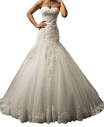 Ruisha Women's Strapless Applique Lace Dropped Waist Wedding Dress Lace Bridal Gown Size 24W (Dropped Waist Wedding Dress)