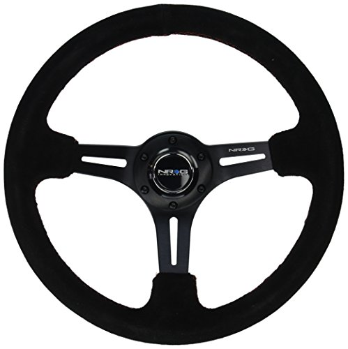 """NRG Innovations RST-018S-RS Reinforced 350mm Sport Steering Wheel Suede (3"""" Deep) Black Leather with Red Stitch"""
