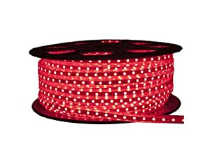 CBconcept 120VSMD5050-20M-R 120 -volt High Power SMD5050 Flexible Flat LED Strip Rope Light, 65-Feet Spool, Red