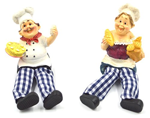 Mystica Pair of Shelf Sitter Couple Cheff Head Dangly Legs Fruit Collectible ()