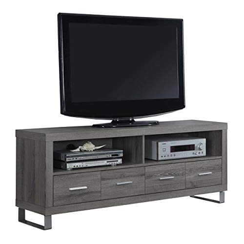 Modern Stand Tv Metal (Monarch Specialties I 2517, TV Console with 4 Drawers, Dark Taupe Reclaimed-Look, 60