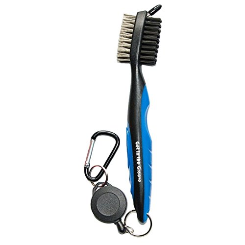 Golf Club Brush With Groove Cleaning Spike and Retractable Extension Cord and Clip, Extends 2ft. - Easily Attaches to Golf Bag - Deep Clean Iron Grooves (Blue/Black)