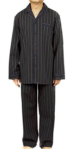 Leisureland Men's 100% Cotton Poplin Pajama Set Stripe Black - Poplin Pajama Cotton
