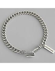 925 Sterling Silver Vintage Bracelet Terndy Simple Box Chain Bracelet Wedding Jewelry for Women Size 18.5mm Adjustable