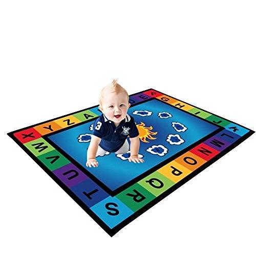 USTIDE 5'x7' Educational Kids Rug |Colors,Alphabet on Blue|Vibrant Kids Children Playroom Area Rug