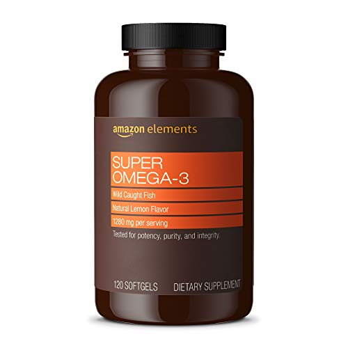 Amazon Elements Super Omega-3 with Natural Lemon Flavor - Heart, Brain, Eye Health* - 120 Softgels (1280 mg per serving, 2 Softgels) (Packaging may vary) in USA