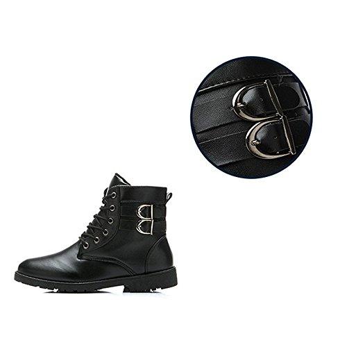 JACKSHIBO Men's Casual Lace Up Ankle Boots Plus Velvet Black,No velet