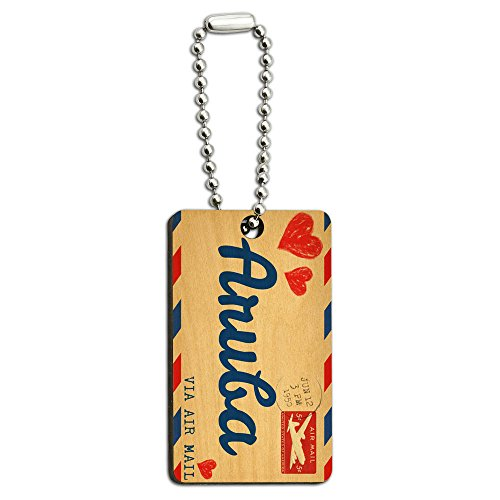 (Graphics and More Air Mail Postcard Love for Aruba Wood Wooden Rectangle Key Chain)