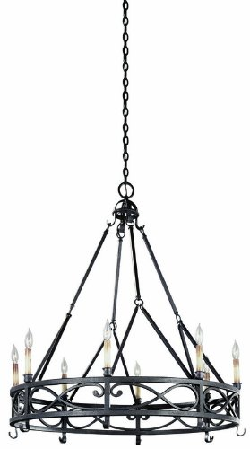 World Imports Lighting 80018-85 Chaumont 8-Light Chandelier, 37″ x 42″, Textured Rust For Sale