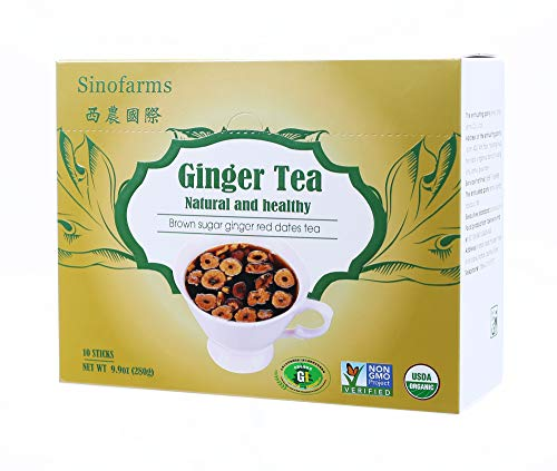 (Sinofarms Certified Organic Ginger Root Tea, Brown Sugar with Ginger Herbal Tea, 10 Sachets 280g )