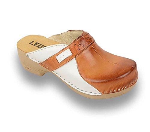 Sabots Marron Cuir Mules Chaussons Dames en Chaussures PU154 LEON Femme UF5qwTHW