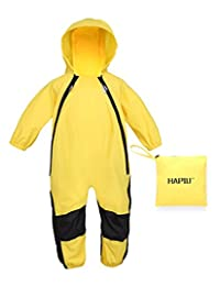 HAPIU Kids and Toddler Rain Suit One Piece Waterproof Coverall with Hood