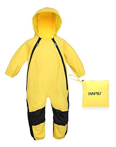 HAPIU Kids Toddler Rain Suit Muddy Buddy Waterproof Coverall,Yellow,18M,Original by HAPIU