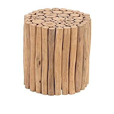 Deco 79 Teak Wood Stool, 14 by 16-Inch